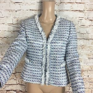 TAHARI BLUE PURPLE WHITE TEXTURED FRAYED BLAZER-6P